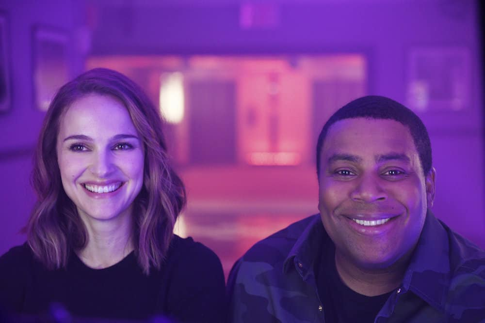 SATURDAY NIGHT LIVE -- Episode 1738 -- Pictured: Host Natalie Portman with Kenan Thompson during a promo in 30 Rockefeller Plaza -- (Photo by: Rosalind O'Connor/NBC)