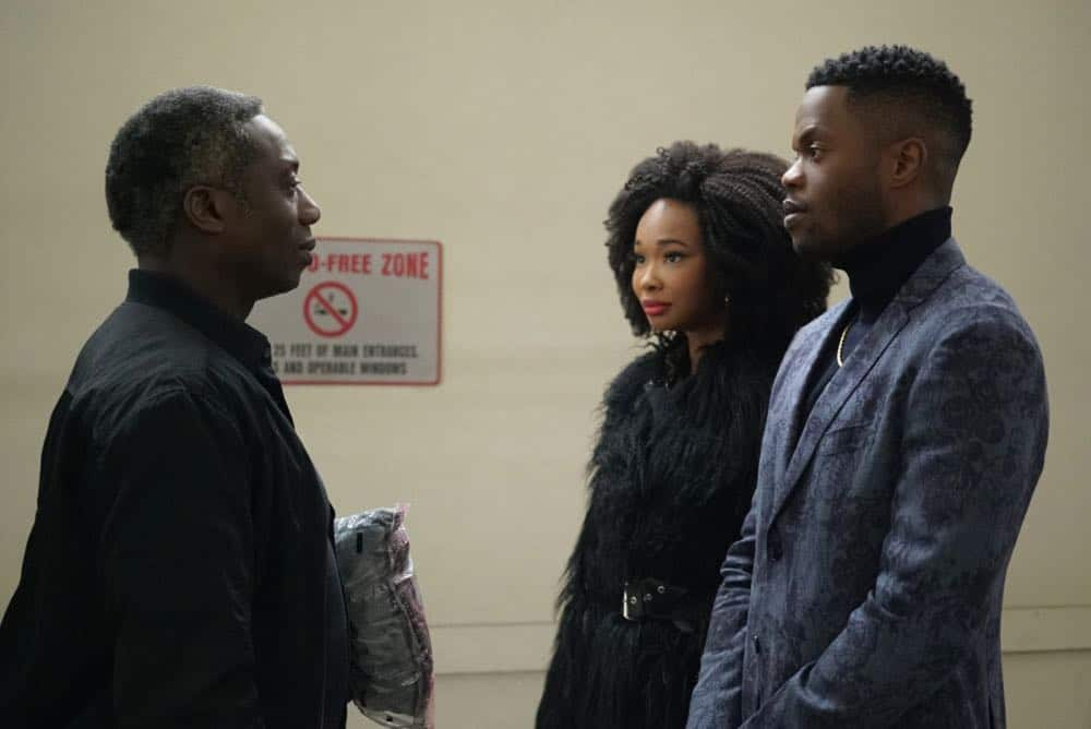 "Dynasty -- ""Nothing But Trouble"" -- Image Number: DYN113b_0044b.jpg -- Pictured (L-R): Hakeem Kae-Kazim as Cecil Colby, Wakeema Hollis as Monica and Sam Adegoke as Jeff -- Photo: Annette Brown/The CW -- © 2018 The CW Network, LLC. All Rights Reserved."