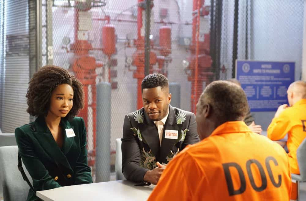 "Dynasty -- ""Nothing But Trouble"" -- Image Number: DYN113b_0293b.jpg -- Pictured (L-R): Wakeema Hollis as Monica, Sam Adegoke as Jeff and Hakeem Kae-Kazim as Cecil Colby -- Photo: Annette Brown/The CW -- © 2018 The CW Network, LLC. All Rights Reserved."