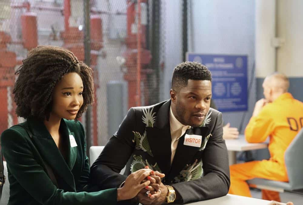 "Dynasty -- ""Nothing But Trouble"" -- Image Number: DYN113b_0227b.jpg -- Pictured (L-R): Wakeema Hollis as Monica and Sam Adegoke as Jeff -- Photo: Annette Brown/The CW -- © 2018 The CW Network, LLC. All Rights Reserved."