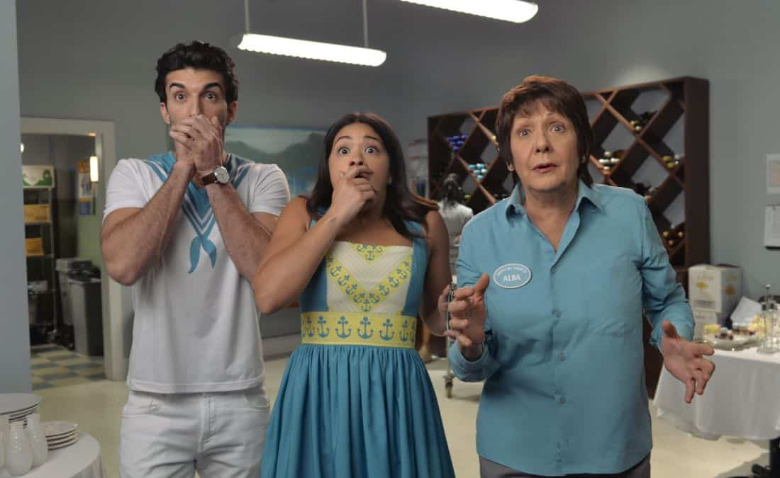 "Jane The Virgin -- ""Chapter Seventy-Four"" -- Image Number: JAV410b_070.jpg -- Pictured (L-R): Justin Baldoni as Rafael, Gina Rodriguez as Jane and Ivonne Coll as Alba -- Photo: Lisa Rose/The CW -- © 2018 The CW Network, LLC. All Rights Reserved."