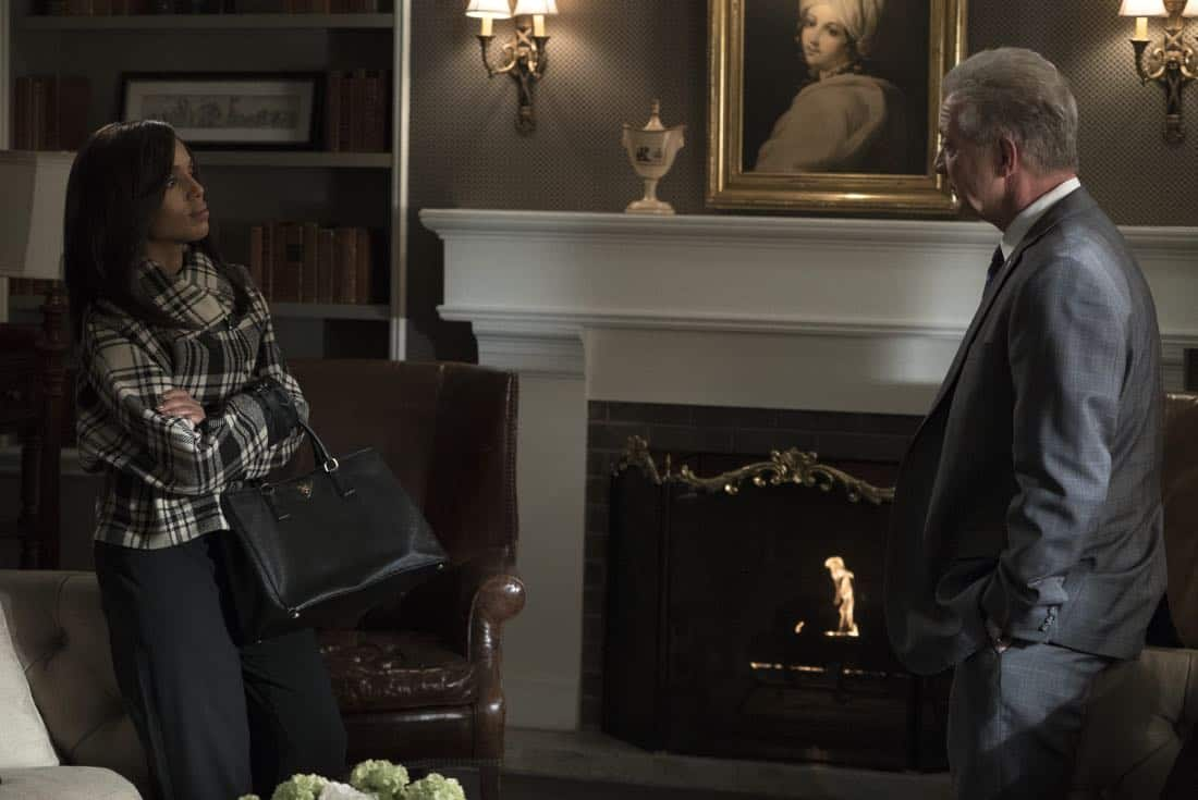 "SCANDAL - ""Army of One"" - Mellie's plans to name Jake as her new chief of staff only propels Olivia to do whatever it takes to make sure that does not happen. Back at Papa Pope's house, Quinn becomes restless, wondering just how long Rowan intends to keep her and Robin hidden from the outside world. Meanwhile at QPA, Abby, Huck and Charlie decide that it's time to move forward with new clients when their first case leads to surprising intel, on ""Scandal,"" airing THURSDAY, FEB. 8 (9:00-10:00 p.m. EST), on The ABC Television Network. (ABC/Eric McCandless) KERRY WASHINGTON, JEFF PERRY"