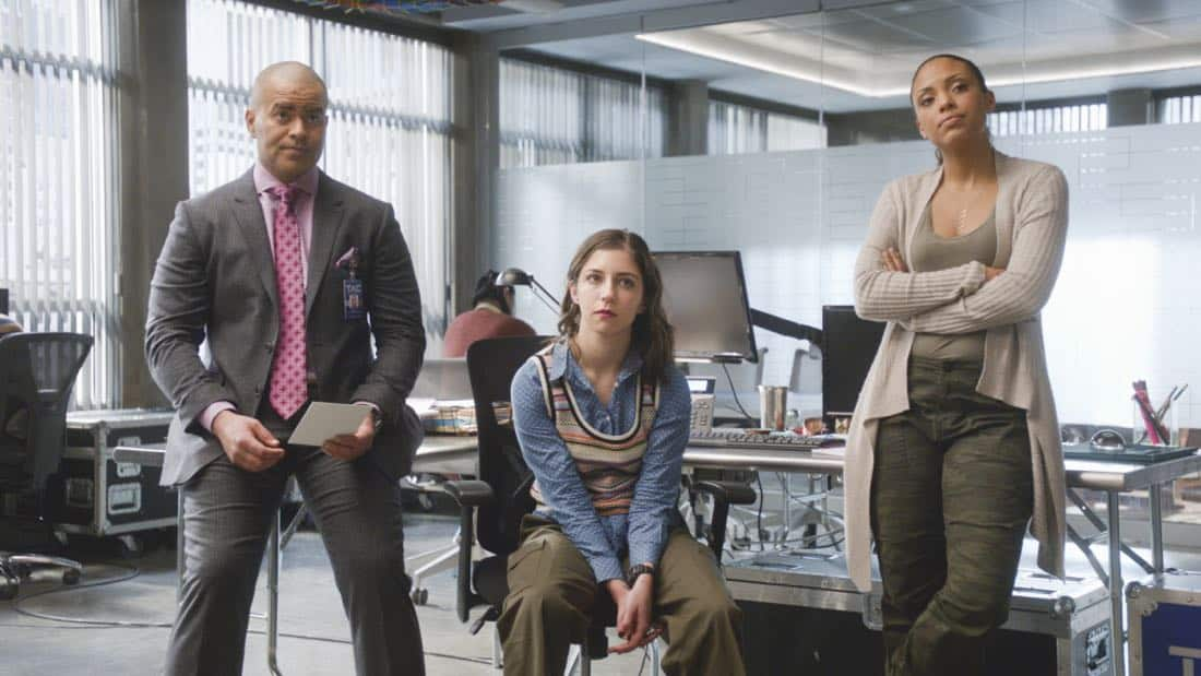 """""""Keep Your Friends Close""""--Bull is brought on to help the FBI's case against a hacker whom they believe breached air traffic control at LaGuardia Airport. But when Cable learns that the accused is her friend's husband, she risks breaking the law -- and defying Bull -- to try and prove his innocence, on BULL, Tuesday, Feb. 6 (9:00-10:00 PM, ET/PT) on the CBS Television Network. Pictured L-R: Chris Jackson as Chunk Palmer, Annabelle Attanasio as Cable McCrory, and Jaime Lee Kirchner as Danny James Photo: CBS ©2018 CBS Broadcasting, Inc. All Rights Reserved"""