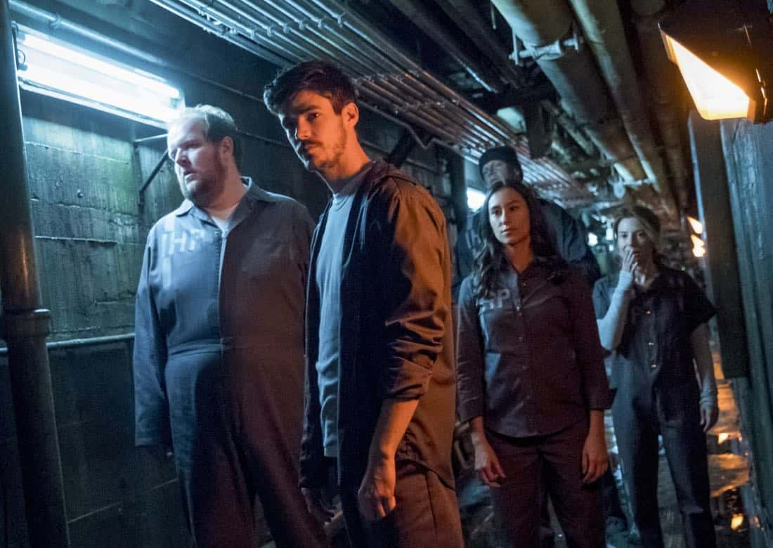 """The Flash -- """"True Colors"""" -- Image Number: FLA413a_0046b.jpg -- Pictured (L-R): Dominic Burgess as Ramsey Deacon, Grant Gustin as Barry Allen, Chelsea Kurtz as Mina Chaytan, Derek Mears as Slybert Rundine and Sugar-Lyn Beard as Becky/Hazard -- Photo: Katie Yu/The CW -- © 2018 The CW Network, LLC. All rights reserved"""