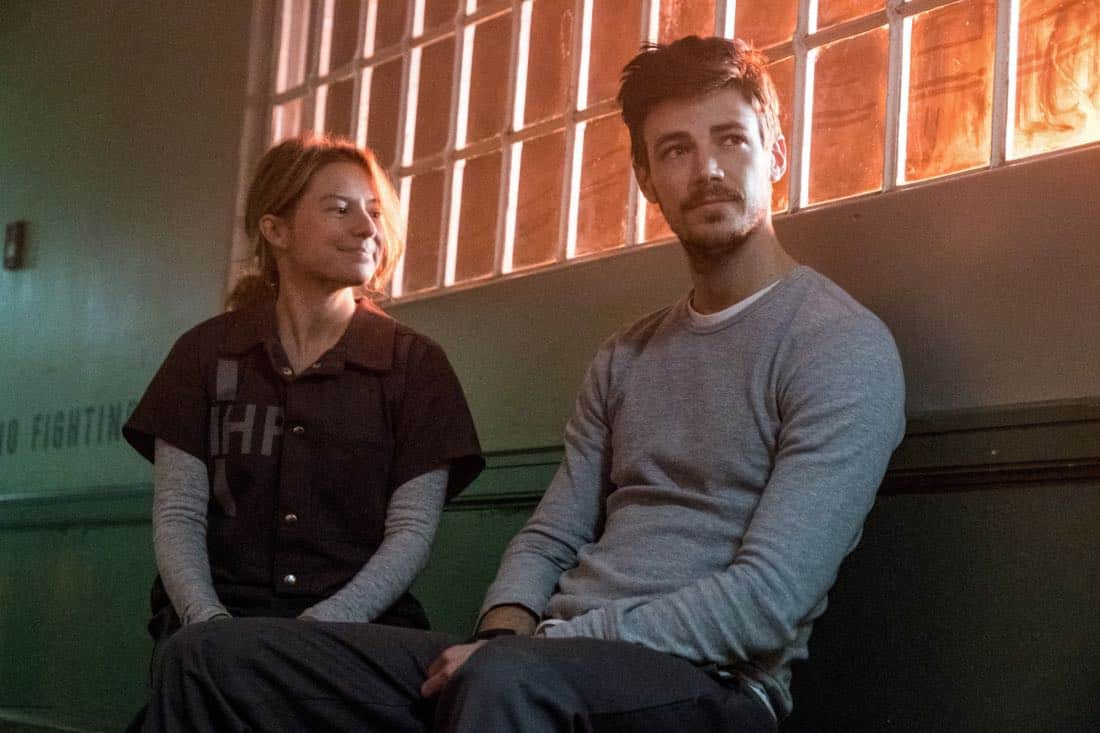 """The Flash -- """"True Colors"""" -- Image Number: FLA413a_0159b.jpg -- Pictured (L-R): Sugar-Lyn Beard as Becky/Hazard and Grant Gustin as Barry Allen -- Photo: Katie Yu/The CW -- © 2018 The CW Network, LLC. All rights reserved"""