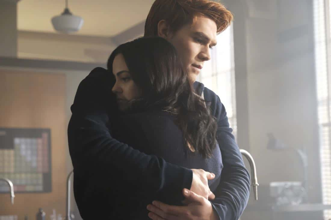 """Riverdale -- """"Chapter Twenty-Six: The Tell-Tale Heart"""" -- Image Number: RVD213a_0090.jpg -- Pictured (L-R): KJ Apa as Archie and Camila Mendes as Veronica -- Photo: Bettina Strauss/The CW -- © 2018 The CW Network, LLC. All Rights Reserved."""