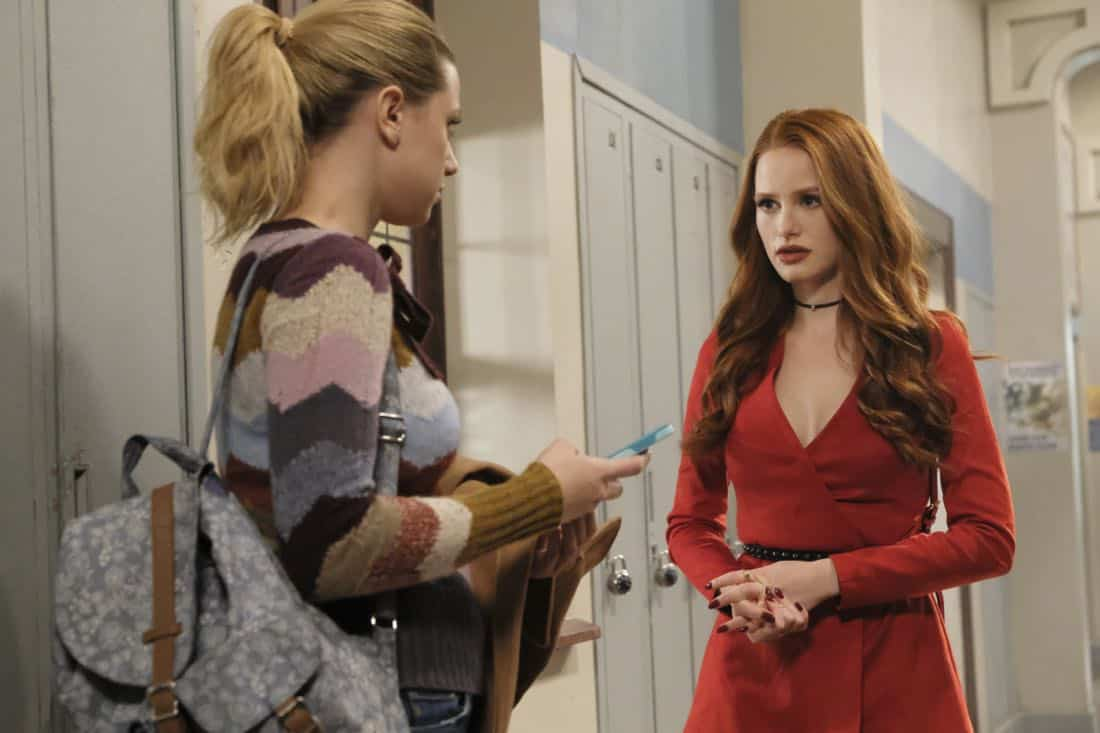 """Riverdale -- """"Chapter Twenty-Six: The Tell-Tale Heart"""" -- Image Number: RVD213a_0188.jpg -- Pictured (L-R): Lili Reinhart as Betty and Madelaine Petsch as Cheryl -- Photo: Bettina Strauss/The CW -- © 2018 The CW Network, LLC. All Rights Reserved."""