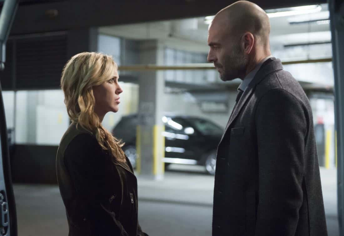 "Arrow -- ""The Devil's Greatest Trick"" -- Image Number: AR613b_0251.jpg -- Pictured (L-R): Katie Cassidy as Laurel/Black Siren and Paul Blackthorne as Quentin Lance -- Photo: Diyah Pera/The CW -- © 2018 The CW Network, LLC. All Rights reserved."