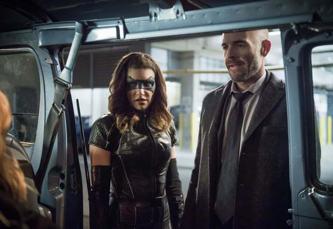 "Arrow -- ""The Devil's Greatest Trick"" -- Image Number: AR613b_0260.jpg -- Pictured (L-R): Juliana Harkavy as Dinah Drake/Black Canary and Paul Blackthorne as Quentin Lance -- Photo: Diyah Pera/The CW -- © 2018 The CW Network, LLC. All Rights reserved."