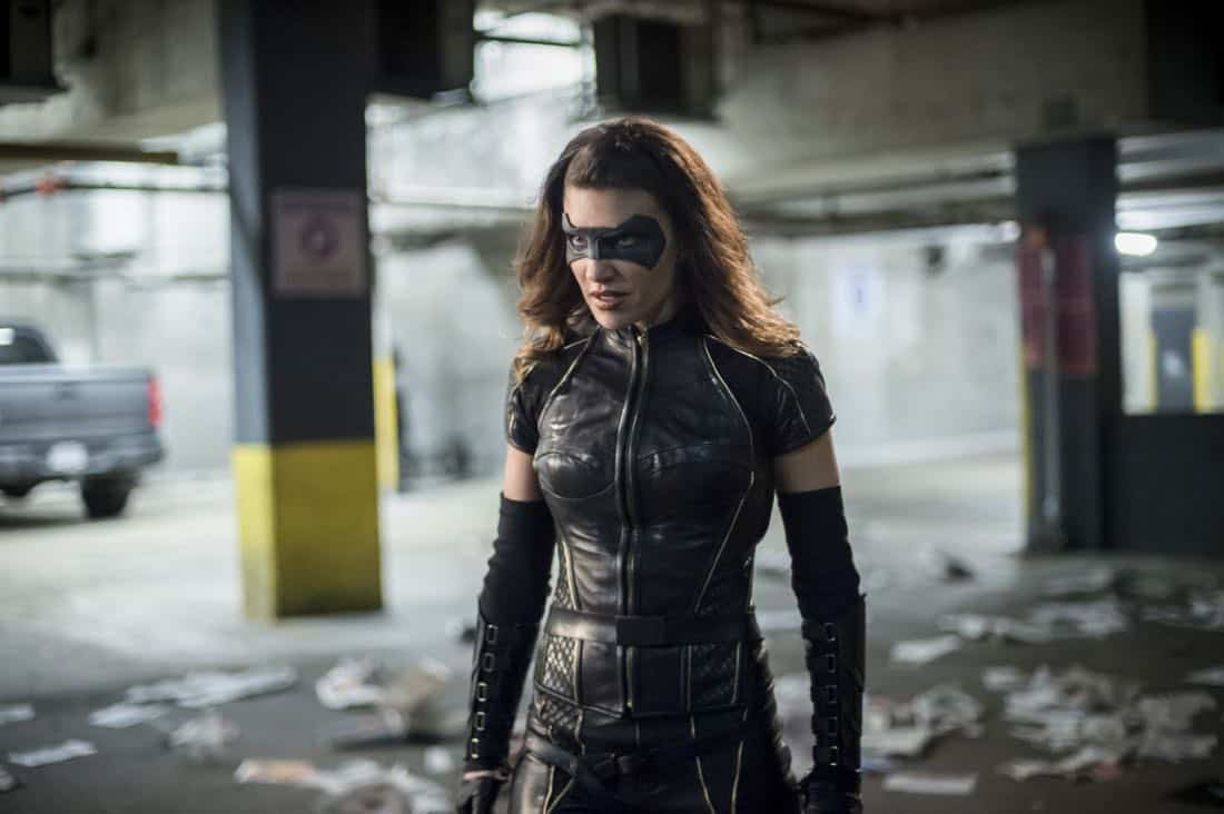 "Arrow -- ""The Devil's Greatest Trick"" -- Image Number: AR613b_0399.jpg -- Pictured: Juliana Harkavy as Dinah Drake/Black Canary -- Photo: Diyah Pera/The CW -- © 2018 The CW Network, LLC. All Rights reserved."