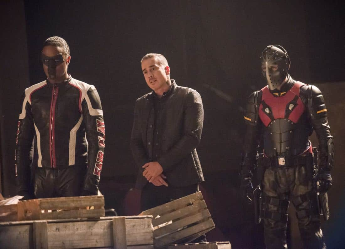 "Arrow -- ""The Devil's Greatest Trick"" -- Image Number: AR613a_0016.jpg -- Pictured (L-R): Echo Kellum as Curtis Holt/Mr. Terrific, Kirk Acevedo as Ricardo Diaz and Rick Gonzalez as Rene Ramirez/Wild Dog -- Photo: Diyah Pera/The CW -- © 2018 The CW Network, LLC. All Rights reserved."