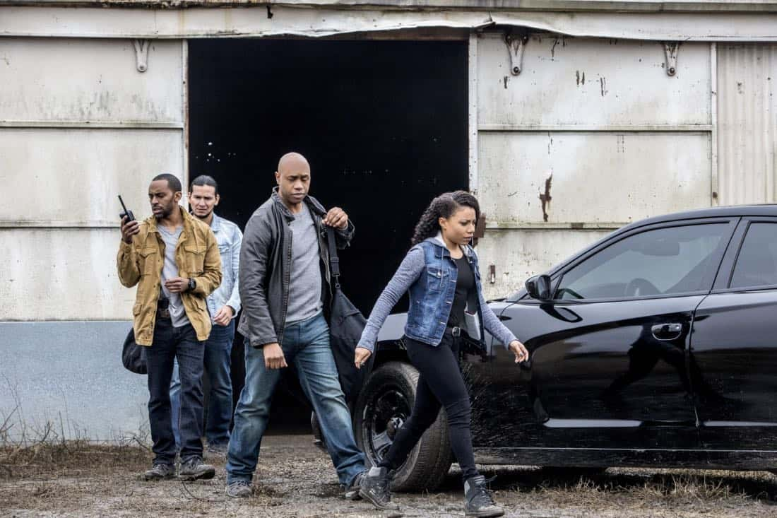 """""""The Last Mile"""" -- FBI Special Agent Raymond Isler (Derek Webster) asks Pride for help with an off-the-books opioids theft investigation he is personally invested in. Also, Percy is sent undercover as a getaway driver with Isler as the muscle for a job tied to the case, on NCIS: NEW ORLEANS, Tuesday, Feb. 27 (10:00-11:00 PM, ET/PT) on the CBS Television Network.  Pictured L-R: Alex Livinalli as Hicks, Jaime Lincoln Smith as Hal Cranston, Derek Webster as FBI Assistant Director Isler, and Shalita Grant as Sonja Percy Photo: Skip Bolen/CBS ©2018 CBS Broadcasting, Inc. All Rights Reserved"""