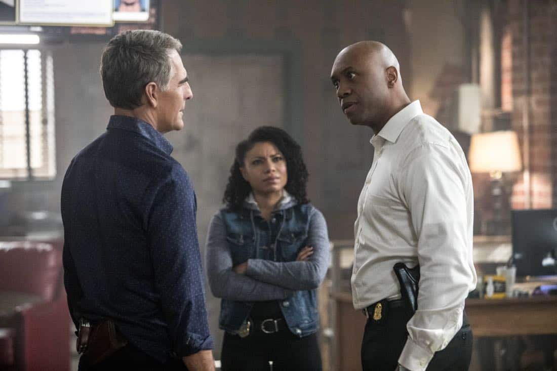 """""""The Last Mile"""" -- FBI Special Agent Raymond Isler (Derek Webster) asks Pride for help with an off-the-books opioids theft investigation he is personally invested in. Also, Percy is sent undercover as a getaway driver with Isler as the muscle for a job tied to the case, on NCIS: NEW ORLEANS, Tuesday, Feb. 27 (10:00-11:00 PM, ET/PT) on the CBS Television Network. Pictured L-R: Scott Bakula as Special Agent Dwayne Pride, Shalita Grant as Sonja Percy, and Derek Webster as FBI Assistant Director Isler Photo: Skip Bolen/CBS ©2018 CBS Broadcasting, Inc. All Rights Reserved"""