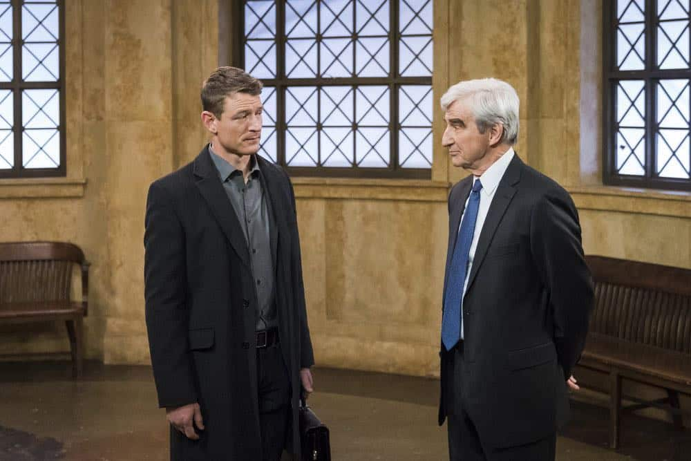 """LAW & ORDER: SPECIAL VICTIMS UNIT -- """"The Undiscovered Country"""" Episode 1913 -- Pictured: (l-r) Philip Winchester as Peter Stone, Sam Waterston as DA Jack McCoy -- (Photo by: Michael Parmelee/NBC)"""
