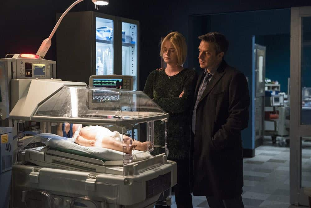 """LAW & ORDER: SPECIAL VICTIMS UNIT -- """"The Undiscovered Country"""" Episode 1913 -- Pictured: (l-r) Abigail Hawk as Maggie Householder, Raul Esparza as A.D.A. Rafael Barba -- (Photo by: Michael Parmelee/NBC)"""