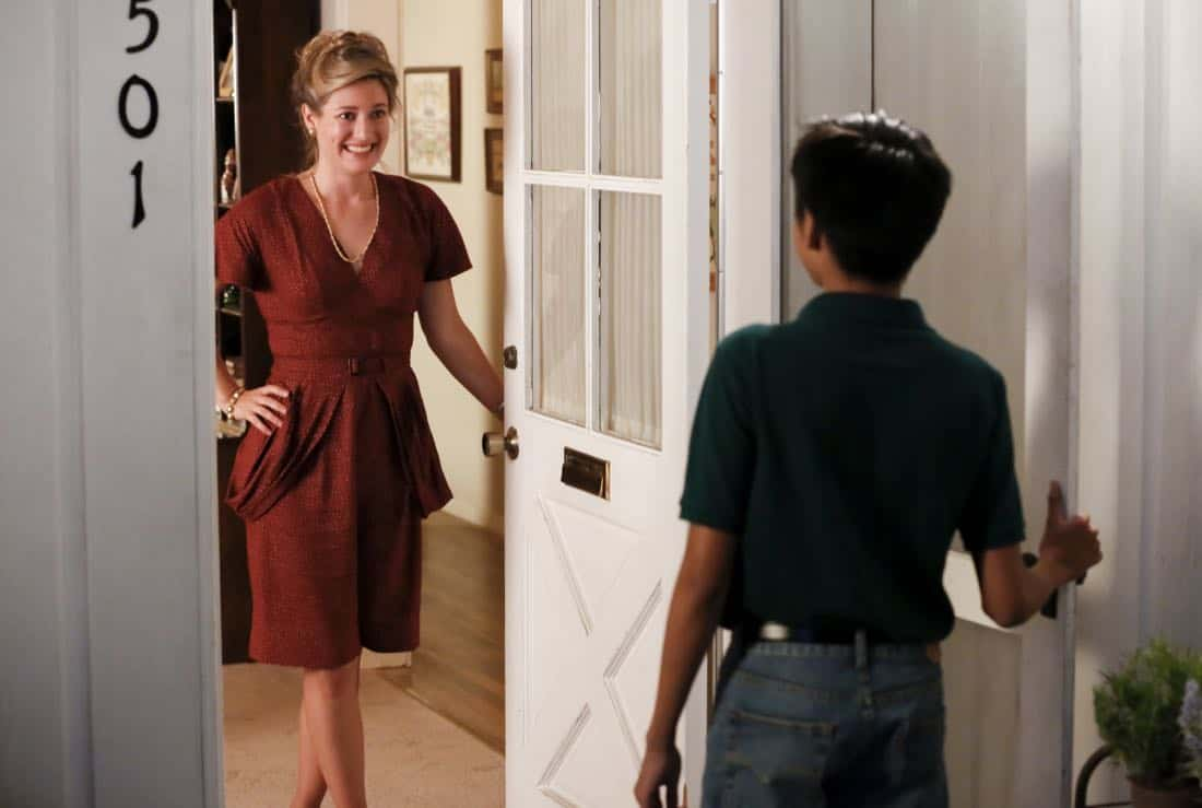 """""""Rockets, Communists, and the Dewey Decimal System""""-- Pictured: Mary (Zoe Perry). To appease his worried mother, Sheldon employs the techniques of a self-help book to try and make a friend, when YOUNG SHELDON returns in its new time period, Thursday, Nov. 2 (8:31-9:01 PM, ET/PT) on the CBS Television Network.  Photo: Robert Voets/CBS ©2017 CBS Broadcasting, Inc. All Rights Reserved."""
