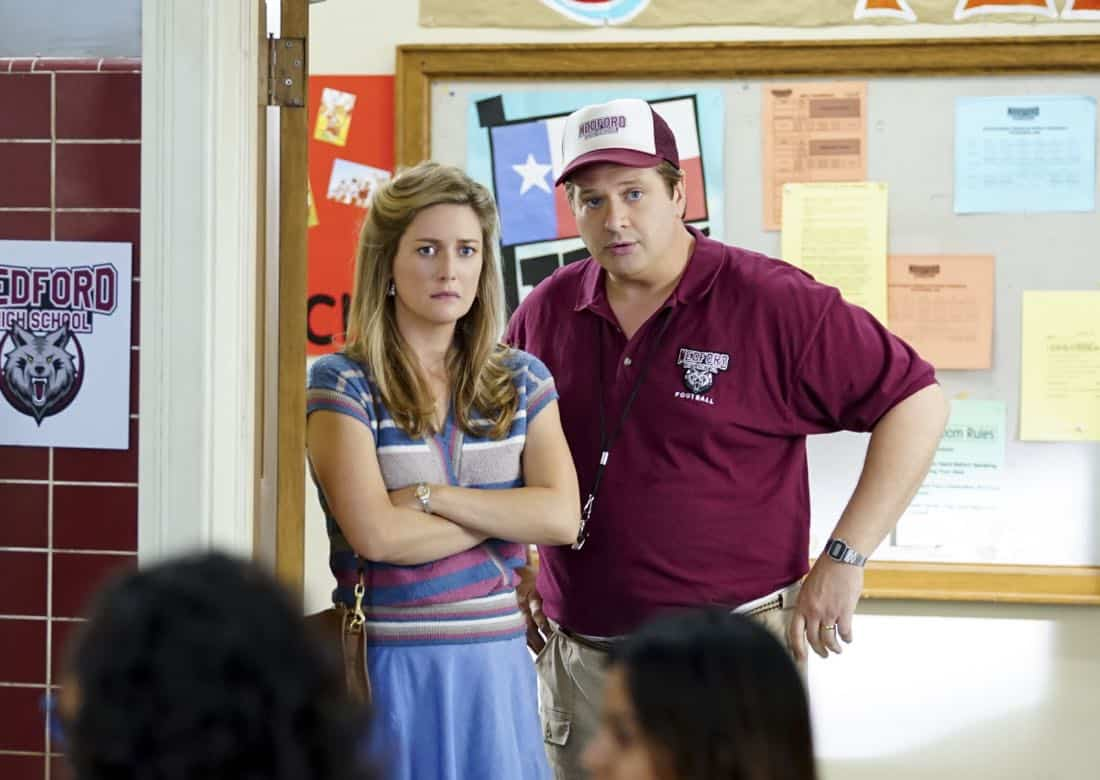 """""""Rockets, Communists, and the Dewey Decimal System""""-- Pictured: Mary (Zoe Perry) and George, Sr. (Lance Barber). To appease his worried mother, Sheldon employs the techniques of a self-help book to try and make a friend, when YOUNG SHELDON returns in its new time period, Thursday, Nov. 2 (8:31-9:01 PM, ET/PT) on the CBS Television Network.  Photo: Sonja Flemming/CBS ©2017 CBS Broadcasting, Inc. All Rights Reserved."""