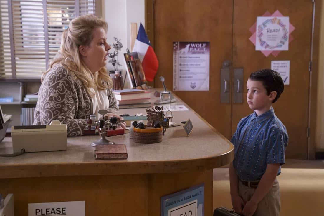 """""""Rockets, Communists, and the Dewey Decimal System""""-- Pictured: Sheldon (Iain Armitage). To appease his worried mother, Sheldon employs the techniques of a self-help book to try and make a friend, when YOUNG SHELDON returns in its new time period, Thursday, Nov. 2 (8:31-9:01 PM, ET/PT) on the CBS Television Network.  Photo: Bill Inoshita/CBS ©2017 CBS Broadcasting, Inc. All Rights Reserved."""