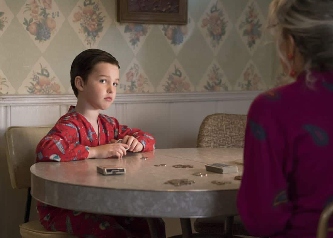 """""""Poker, Faith, and Eggs""""-- Pictured: Sheldon (Iain Armitage). When George Sr. is rushed to the emergency room, Meemaw (Annie Potts) comes to babysit, and the kids have an adventure getting to the hospital on their own, when YOUNG SHELDON airs, Thursday Nov. 9 (8:31-9:01 PM, ET/PT) on the CBS Television Network. Photo: Michael Desmond/Warner Bros. Entertainment Inc. © 2017 WBEI. All rights reserved."""