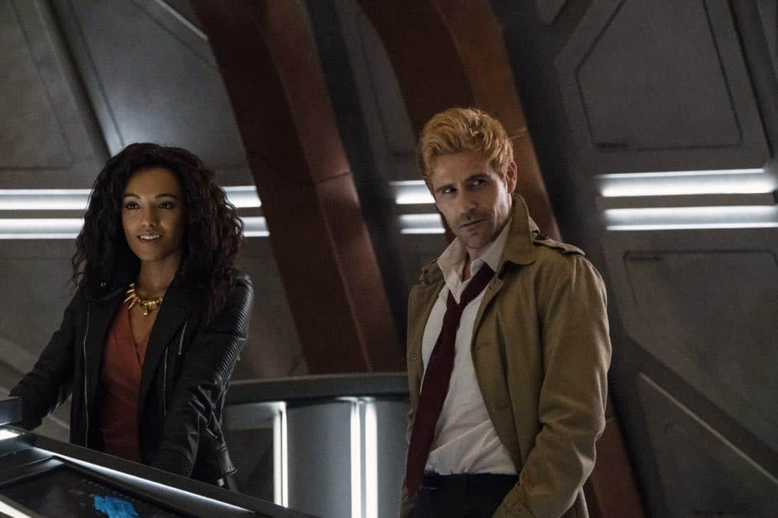 "DC's Legends of Tomorrow -- ""Daddy Darhkest"" -- Image Number: LGN310a_0646b.jpg -- Pictured (L-R): Maisie Richardson- Sellers as Amaya Jiwe/Vixen and Matt Ryan as Constantine -- Photo: Jeff Weddell/The CW -- © 2018 The CW Network, LLC. All Rights Reserved."