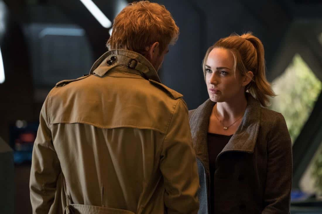 "DC's Legends of Tomorrow -- ""Daddy Darhkest"" -- Image Number: LGN310a_0354b.jpg -- Pictured (L-R): Matt Ryan as Constantine and Caity Lotz as Sara Lance/White Canary -- Photo: Jeff Weddell/The CW -- © 2018 The CW Network, LLC. All Rights Reserved."