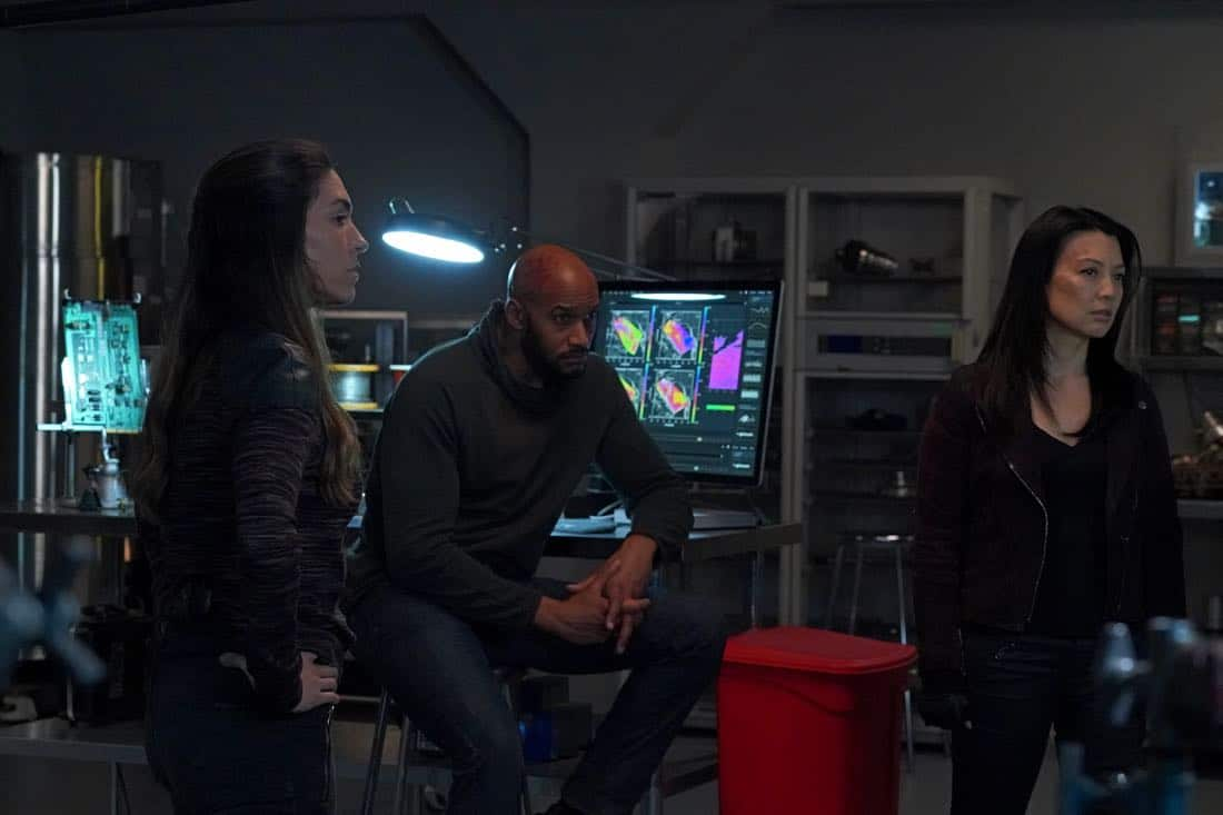 """MARVEL'S AGENTS OF S.H.I.E.L.D. - """"All the Comforts of Home"""" - Coulson and team set out to rewrite the course of humanity's fate, but they're unaware that their efforts will dramatically change one S.H.I.E.L.D agent's life, on """"Marvel's Agents of S.H.I.E.L.D.,"""" FRIDAY, MARCH 2 (9:01-10:01 p.m. EST), on The ABC Television Network. (ABC/Byron Cohen) NATALIA CORDOVA-BUCKLEY, HENRY SIMMONS, MING-NA WEN"""