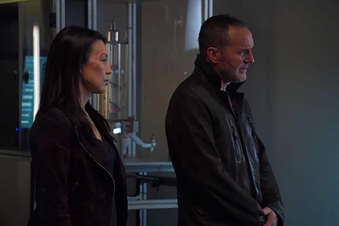 """MARVEL'S AGENTS OF S.H.I.E.L.D. - """"All the Comforts of Home"""" - Coulson and team set out to rewrite the course of humanity's fate, but they're unaware that their efforts will dramatically change one S.H.I.E.L.D agent's life, on """"Marvel's Agents of S.H.I.E.L.D.,"""" FRIDAY, MARCH 2 (9:01-10:01 p.m. EST), on The ABC Television Network. (ABC/Byron Cohen) MING-NA WEN, CLARK GREGG"""