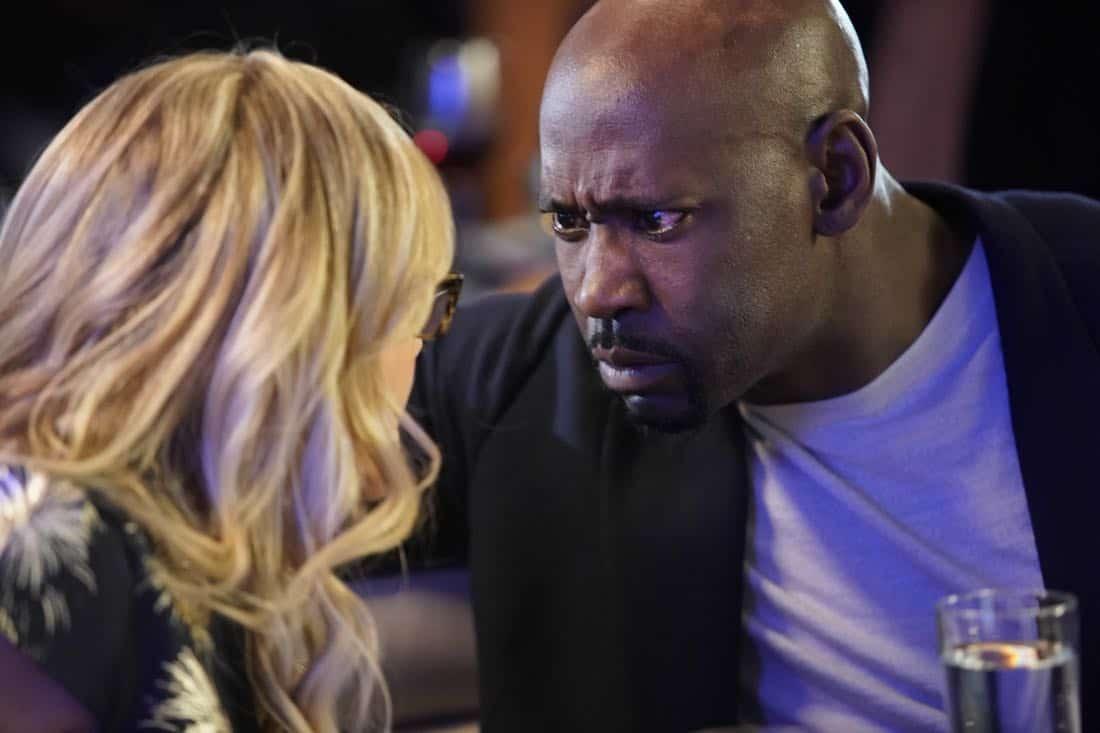 "LUCIFER: L-R: Rachael Harris and D.B. Woodside in the ""High School Poppycock"" episode of LUCIFER airingMonday, Feb. 26 (8:00-9:00 PM ET/PT) on FOX. CR: Erik Voake/FOX"