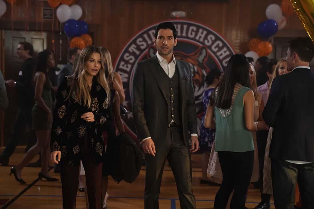 "LUCIFER: L-R: Lauren German and Tom Ellis in the ""High School Poppycock"" episode of LUCIFER airingMonday, Feb. 26 (8:00-9:00 PM ET/PT) on FOX. CR: Erik Voake/FOX"