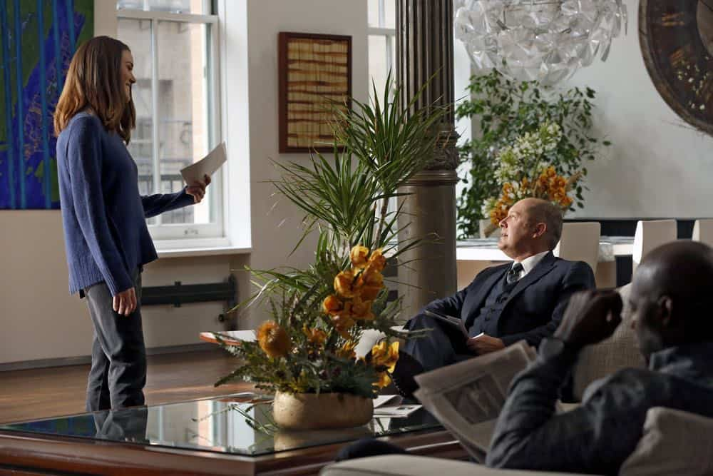 """THE BLACKLIST -- """"Mr. Raleigh Sinclair III (#51)"""" Episode 514 -- Pictured: (l-r) Megan Boone as Elizabeth Keen, James Spader as Raymond """"Red"""" Reddington -- (Photo by: Will Hart/NBC)"""