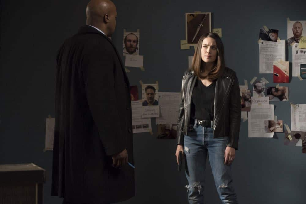 "THE BLACKLIST -- ""Mr. Raleigh Sinclair III (#51)"" Episode 514 -- Pictured: (l-r) Evan Parke as Norman Singleton, Megan Boone as Elizabeth Keen -- (Photo by: Virginia Sherwood/NBC)"