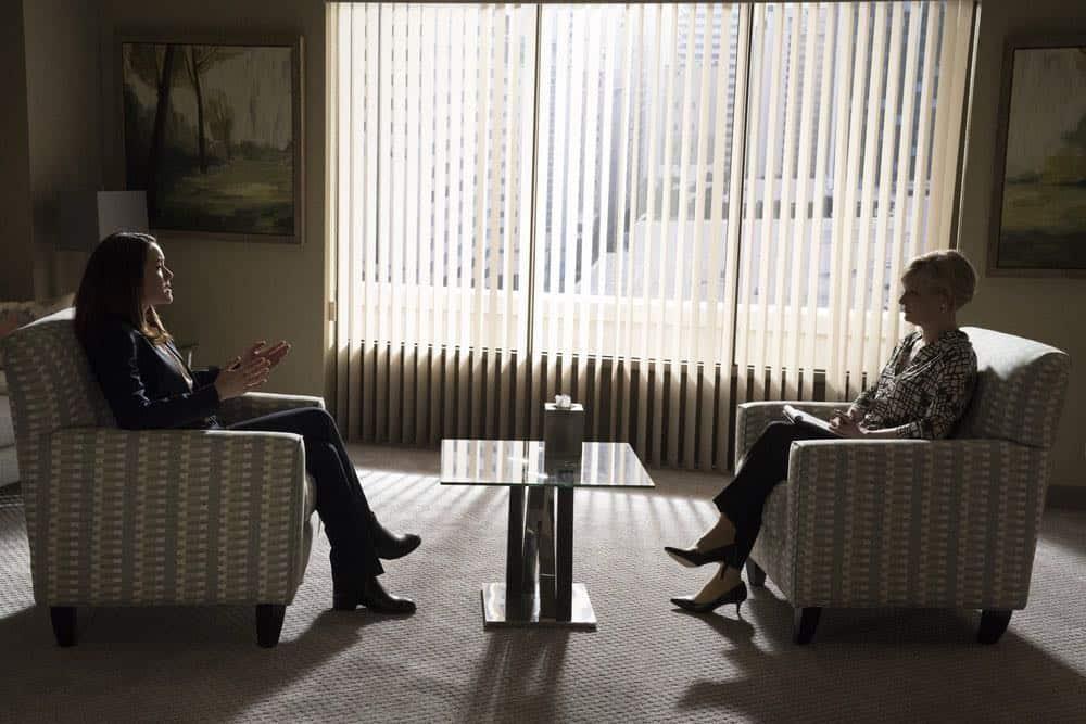"THE BLACKLIST -- ""Mr. Raleigh Sinclair III (#51)"" Episode 514 -- Pictured: (l-r) Megan Boone as Elizabeth Keen, Martha Plimpton as Dr. Sharon Fulton -- (Photo by: Virginia Sherwood/NBC)"