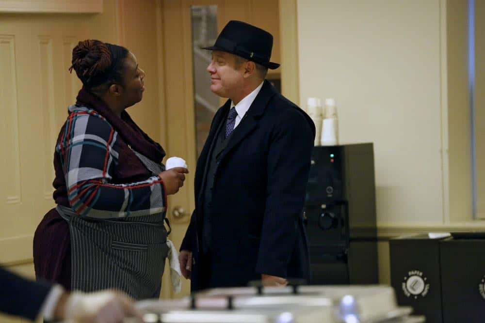 """THE BLACKLIST -- """"Mr. Raleigh Sinclair III (#51)"""" Episode 514 -- Pictured: (l-r) Tamara Anderson as Marion Stamps, James Spader as Raymond """"Red"""" Reddington -- (Photo by: Will Hart/NBC)"""