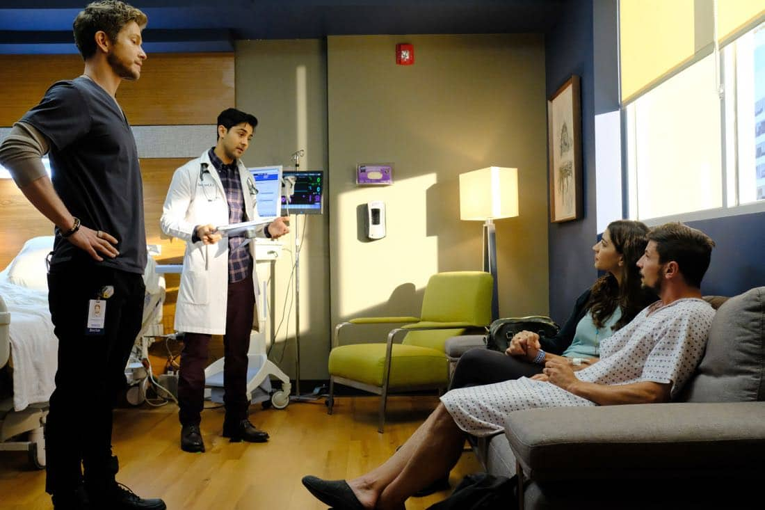"THE RESIDENT:  L-R:  Matt Czuchry, Manish Dayal, guest star Jamie Gray Hyder and guest star Michael Trotter in the ""None the Wiser"" episode of THE RESIDENT airing Monday, Feb. 26 (9:00-10:00 PM ET/PT) on FOX.  ©2018 Fox Broadcasting Co.  Cr:  Guy D'Alema/FOX"