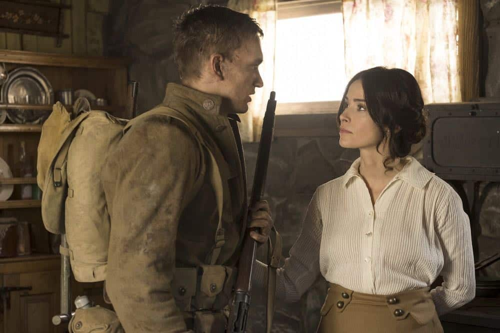 "TIMELESS -- ""The War to End All Wars"" Episode 201 -- Pictured: (l-r) Cameron Neckers as Soldier Edward, Abigail Spencer as Lucy Preston -- (Photo by: Justin Lubin/NBC)"