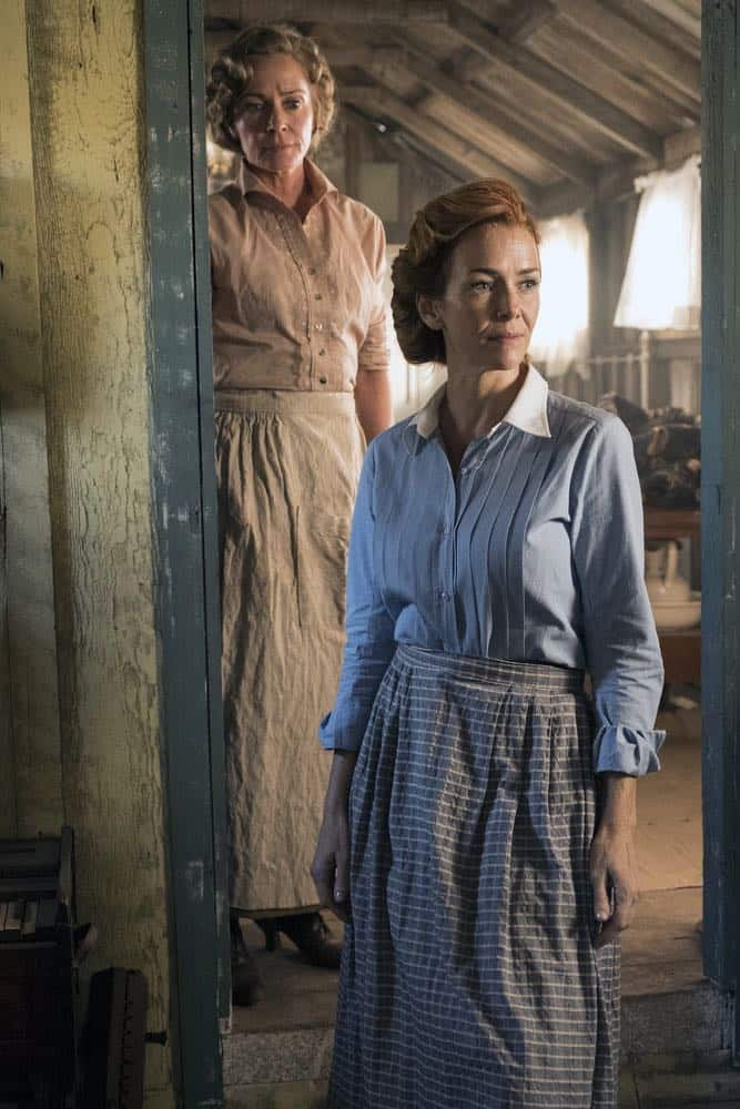 "TIMELESS -- ""The War to End All Wars"" Episode 201 -- Pictured: (l-r) Susanna Thompson as Carol, Anne Wersching as Emma -- (Photo by: Justin Lubin/NBC)"