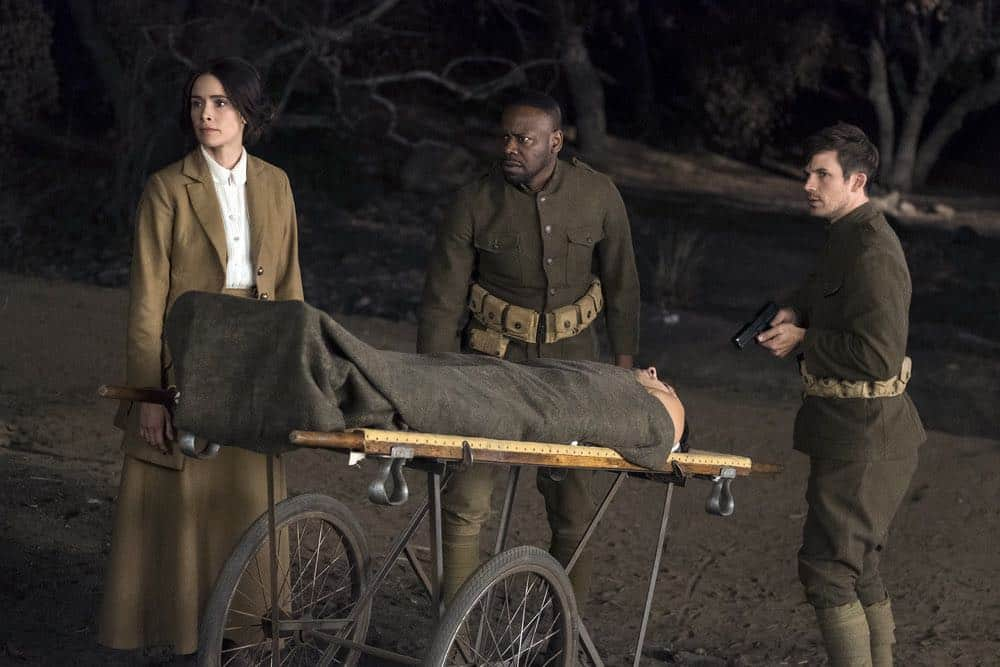 "TIMELESS -- ""The War to End All Wars"" Episode 201 -- Pictured: (l-r) Abigail Spencer as Lucy Preston, Matt Lanter as Wyatt Logan, Malcolm Barrett as Rufus Carlin -- (Photo by: Justin Lubin/NBC)"