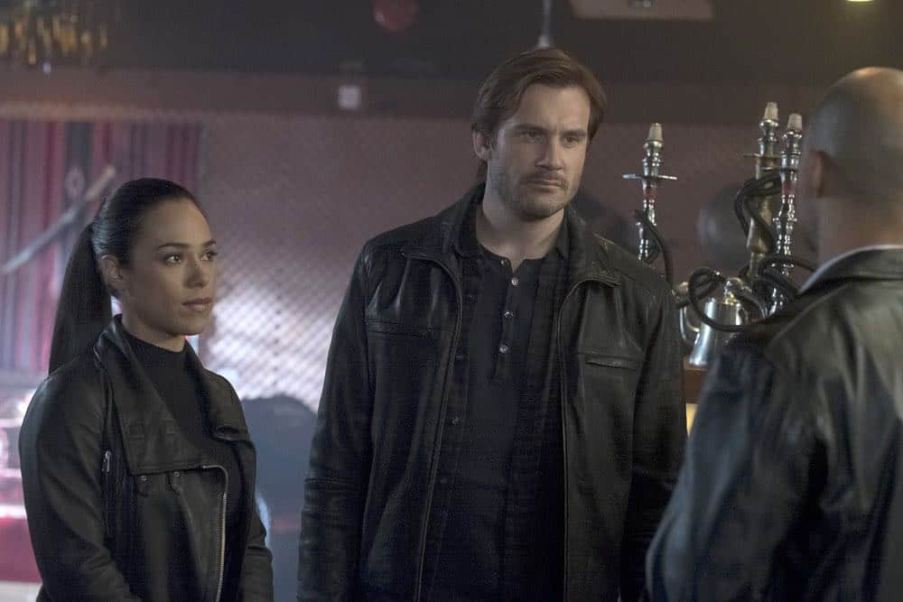 "TAKEN -- ""Absalom"" Episode 205 -- Pictured: (l-r) Jessica Camacho as Santana, Clive Standen as Bryan Mills -- (Photo by: Panagiotis Pantazidis/NBC)"