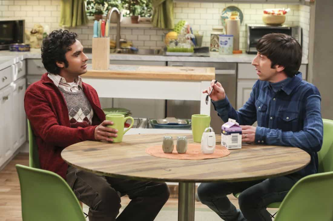 ÒThe Athenaeum AllocationÓ Ð Pictured: Rajesh Koothrappali (Kunal Nayyar) and Howard Wolowitz (Simon Helberg). Leonard jumps through hoops to help secure the perfect wedding venue for Sheldon and Amy. Also, Bernadette and Wolowitz have a hard time deciding who should stay at home with the kids and who should go back to work, on THE BIG BANG THEORY, Thursday, March 8 (8:00-8:31 PM, ET/PT) on the CBS Television Network. John Ross Bowie returns as Kripke. Photo: Michael Yarish/Warner Bros. Entertainment Inc. © 2018 WBEI. All rights reserved.