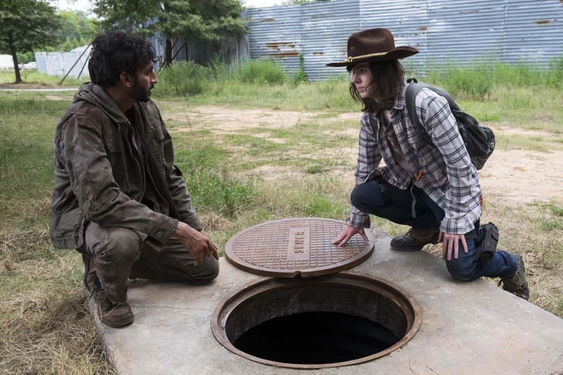 Chandler Riggs as Carl Grimes, Avi Nash as Siddiq - The Walking Dead _ Season 8, Episode 9 - Photo Credit: Gene Page/AMC