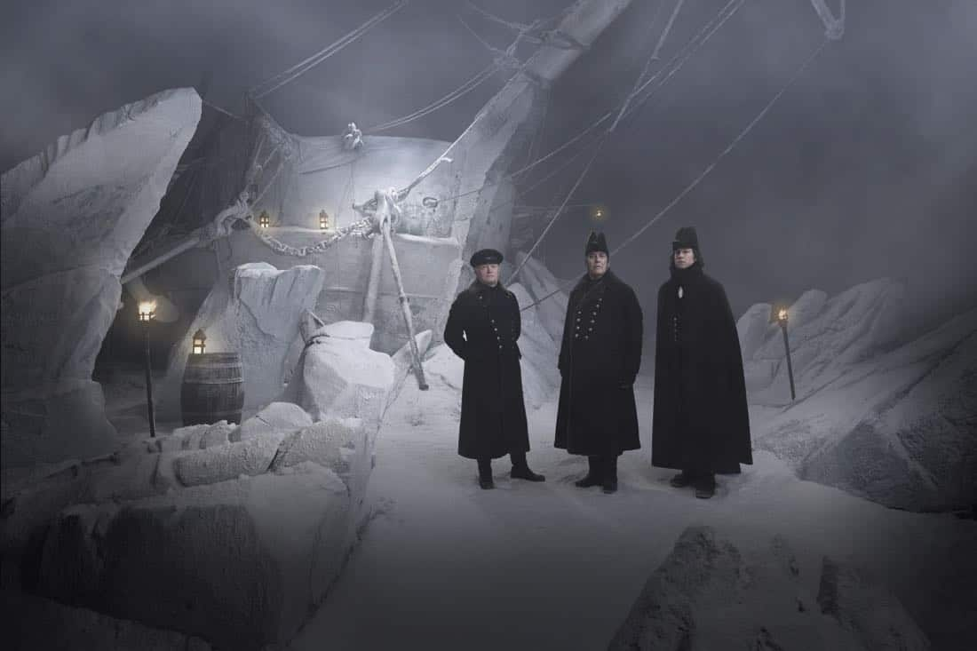 Ciarán Hinds as John Franklin, Tobias Menzies as James Fitzjames, Jared Harris as Francis Crozier - The Terror _ Season 1, Gallery - Photo Credit: Nadav Kander/AMC