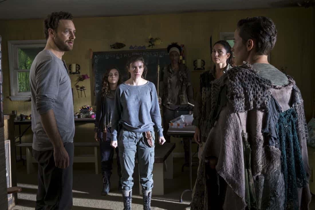 Ross Marquand as Aaron, Katelyn Nacon as Enid, Nicole Barré as Kathy, Briana Venskus as Beatrice - The Walking Dead _ Season 8, Episode 10 - Photo Credit: Gene Page/AMC
