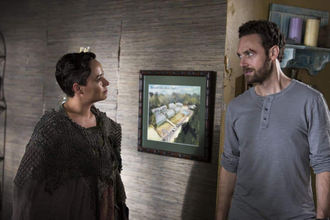 Briana Venskus as Beatrice, Ross Marquand as Aaron - The Walking Dead _ Season 8, Episode 10 - Photo Credit: Gene Page/AMC
