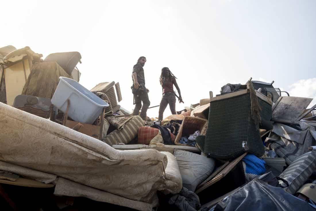 Andrew Lincoln as Rick Grimes, Danai Gurira as Michonne - The Walking Dead _ Season 8, Episode 10 - Photo Credit: Gene Page/AMC
