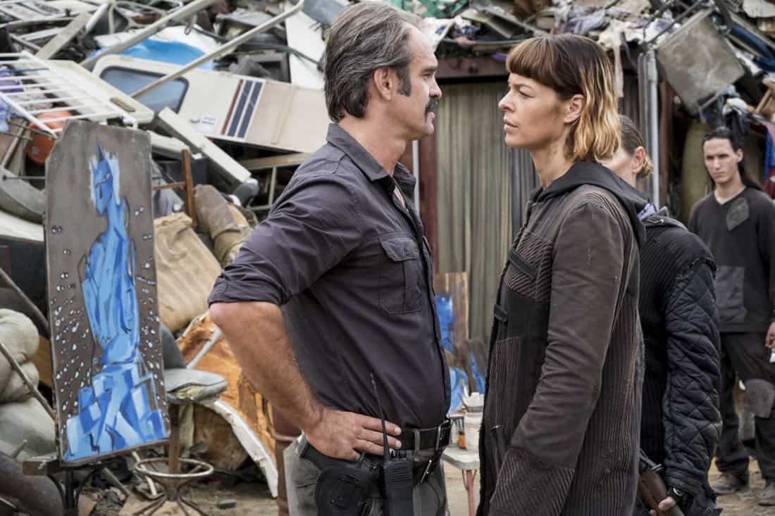 Steven Ogg as Simon, Pollyanna McIntosh as Jadis - The Walking Dead _ Season 8, Episode 10 - Photo Credit: Gene Page/AMC