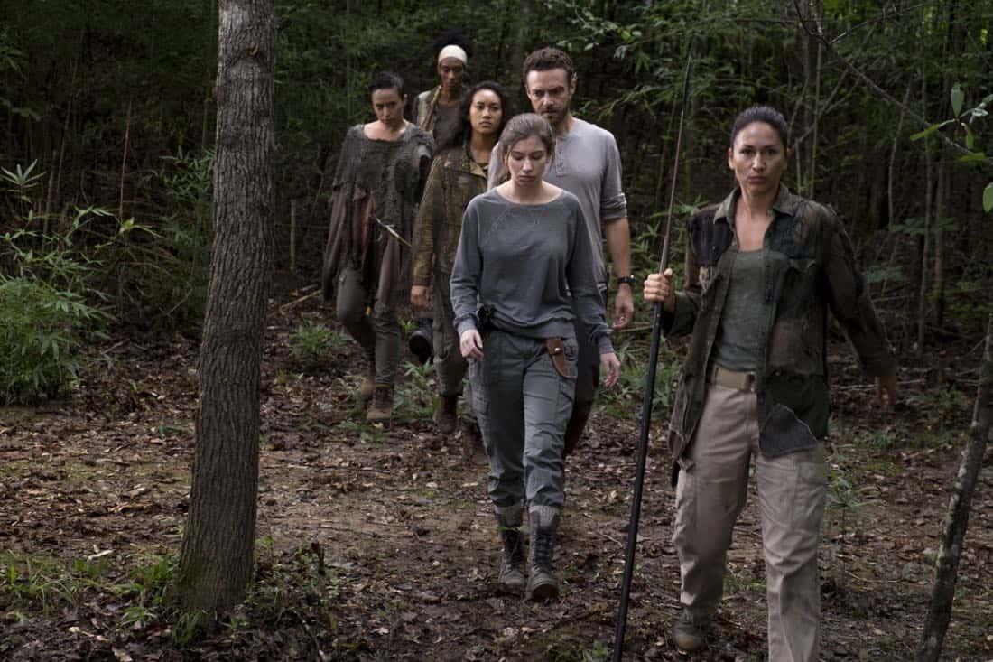Briana Venskus as Beatrice, Sydney Park as Cyndie, Ross Marquand as Aaron, Katelyn Nacon as Enid, Nicole Barré as Kathy - The Walking Dead _ Season 8, Episode 10 - Photo Credit: Gene Page/AMC