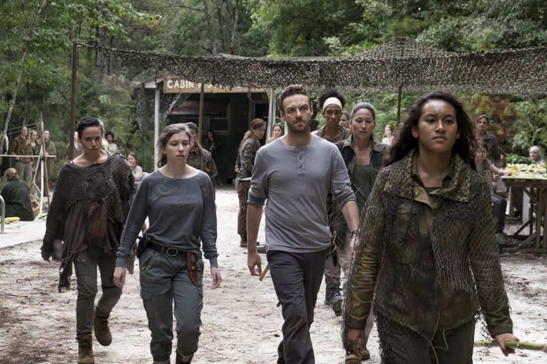 Briana Venskus as Beatrice, Katelyn Nacon as Enid, Ross Marquand as Aaron, Sydney Park as Cyndie - The Walking Dead _ Season 8, Episode 10 - Photo Credit: Gene Page/AMC