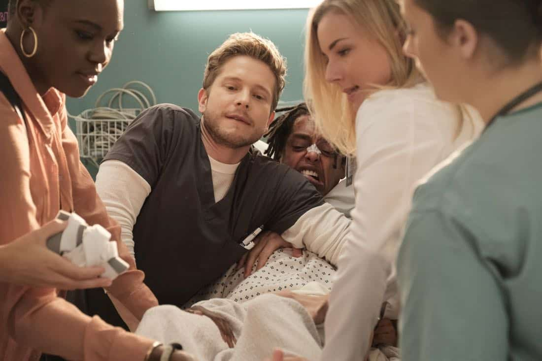 "THE RESIDENT:  L-R:  Shaunette Renée Wilson, Matt Czuchry, guest star Jacob Gibson and Emily VanCamp in the ""No Matter The Cost"" episode of THE RESIDENT airing Monday, March 5 (9:00-10:00 PM ET/PT) on FOX.  ©2018 Fox Broadcasting Co.  Cr:  Guy D'Alema/FOX"