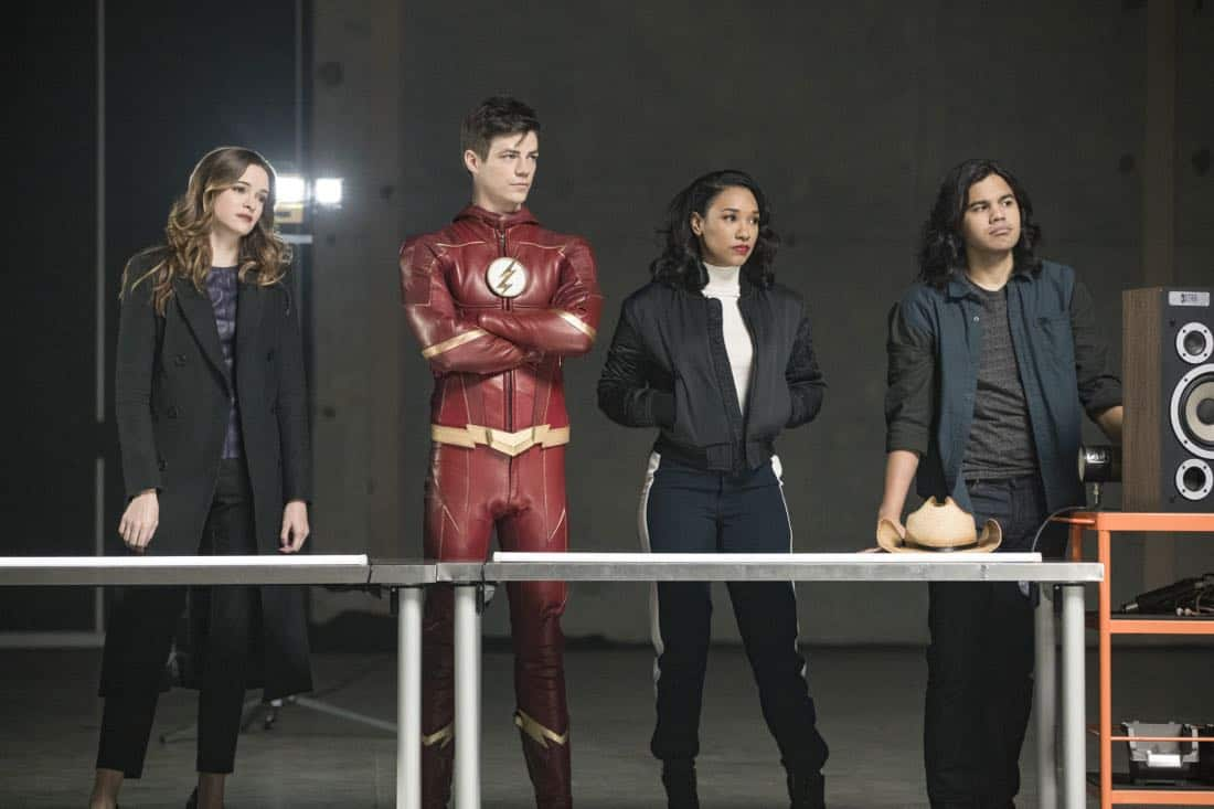 """The Flash -- """"Subject 9"""" -- Image Number: FLA414b_0116b.jpg -- Pictured (L-R): Danielle Panabaker as Caitlin Snow, Grant Gustin as Barry Allen, Candice Patton as Iris West and Carlos Valdes as Cisco Ramon -- Photo: Jack Rowand/The CW -- © 2018 The CW Network, LLC. All rights reserved"""