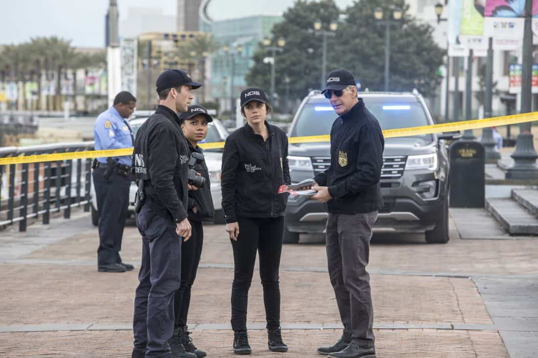 """""""Empathy"""" -- NCIS investigates the disappearance of a Congressional aide after a hitman saves her from two men posing as NCIS agents.  Also, Lasalle struggles with life-altering decisions regarding his brother's future, on NCIS: NEW ORLEANS, Tuesday, March 6 (10:00-11:00 PM, ET/PT) on the CBS Television Network.  Pictured L-R: Lucas Black as Special Agent Christopher LaSalle, Shalita Grant as Sonja Percy, Vanessa Ferlito as FBI Special Agent Tammy Gregorio, and Scott Bakula as Special Agent Dwayne Pride Photo: Skip Bolen/CBS ©2018 CBS Broadcasting, Inc. All Rights Reserved"""